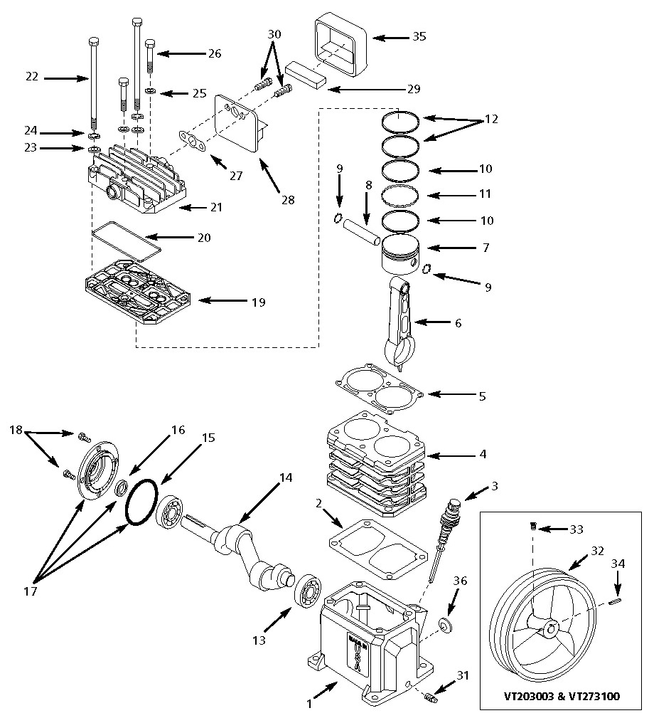 VT470401 - Air Compressor Pump Parts schematic