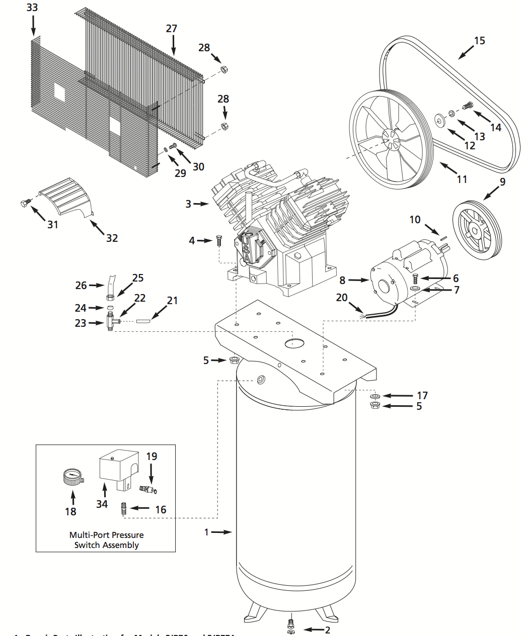 3JR77 - Single Stage Air Compressor Parts schematic