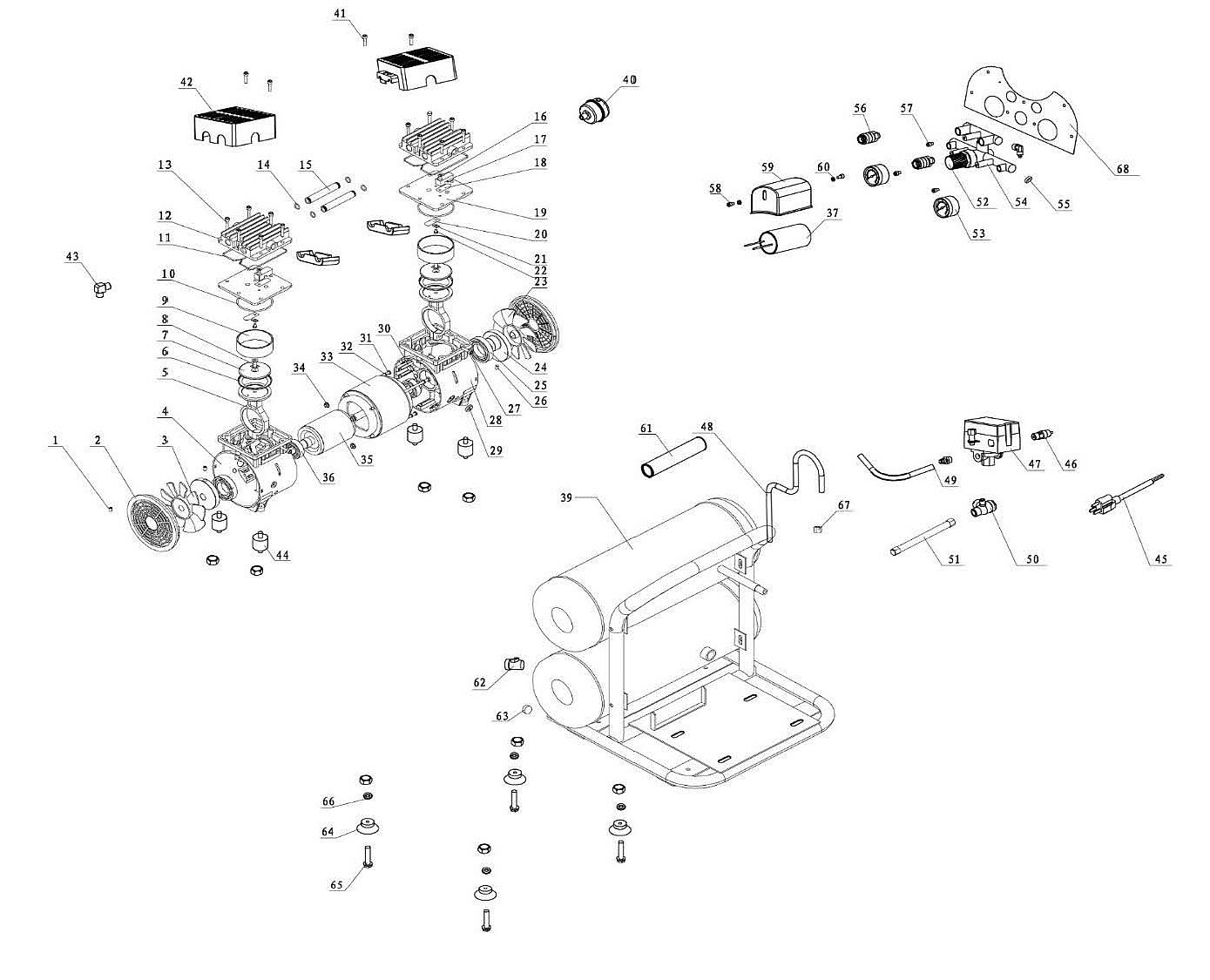 4610AC 220/50 - Oil-Free Portable Air Compressor Repair Parts schematic