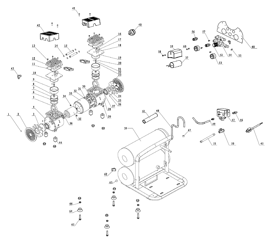 4610S - 1 HP 4.6 Gal Ultra Quiet, Oil-Free Air Compressor Parts schematic