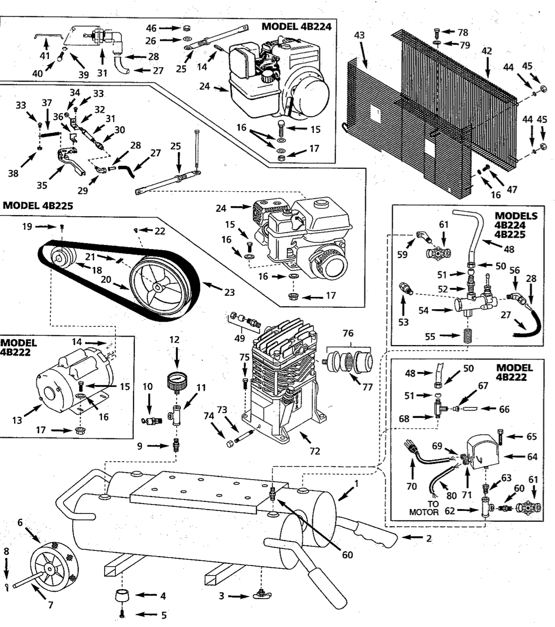 4B225 - Portable Gas Air Compressor Parts schematic