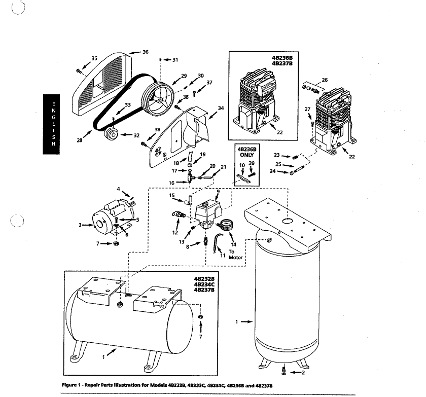 4B236B - Stationary Oil-Bath Electric Air Compressor Parts schematic