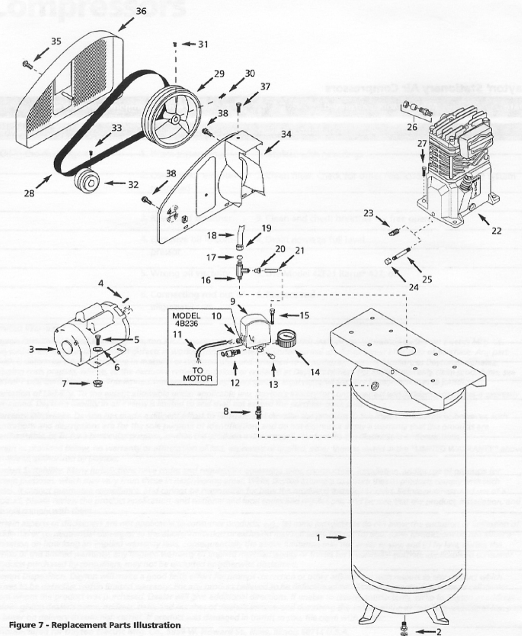 4B238A - Stationary Single-Stage Air Compressor Parts schematic