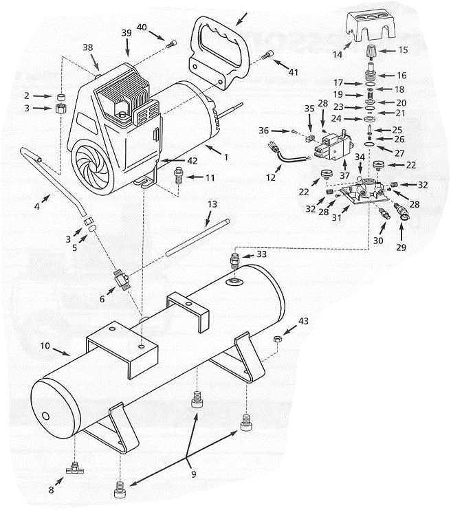 5F237A - Electric Air Compressor Repair Parts schematic
