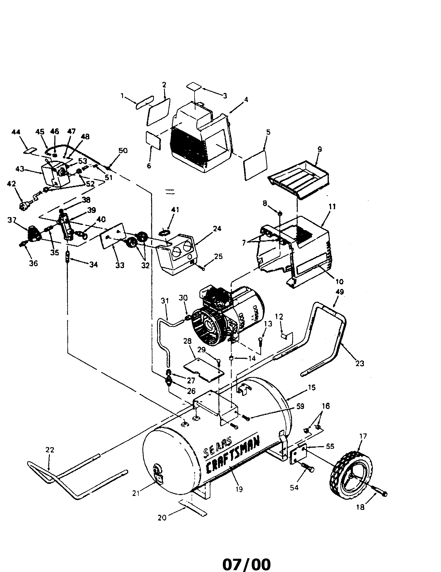 Craftsman Lt4000 917 255450 Wiring Diagram 42 Sears 26 Horse Kohler Engine Electrical 919153331 Compressor Parts For Air Lt3000 At