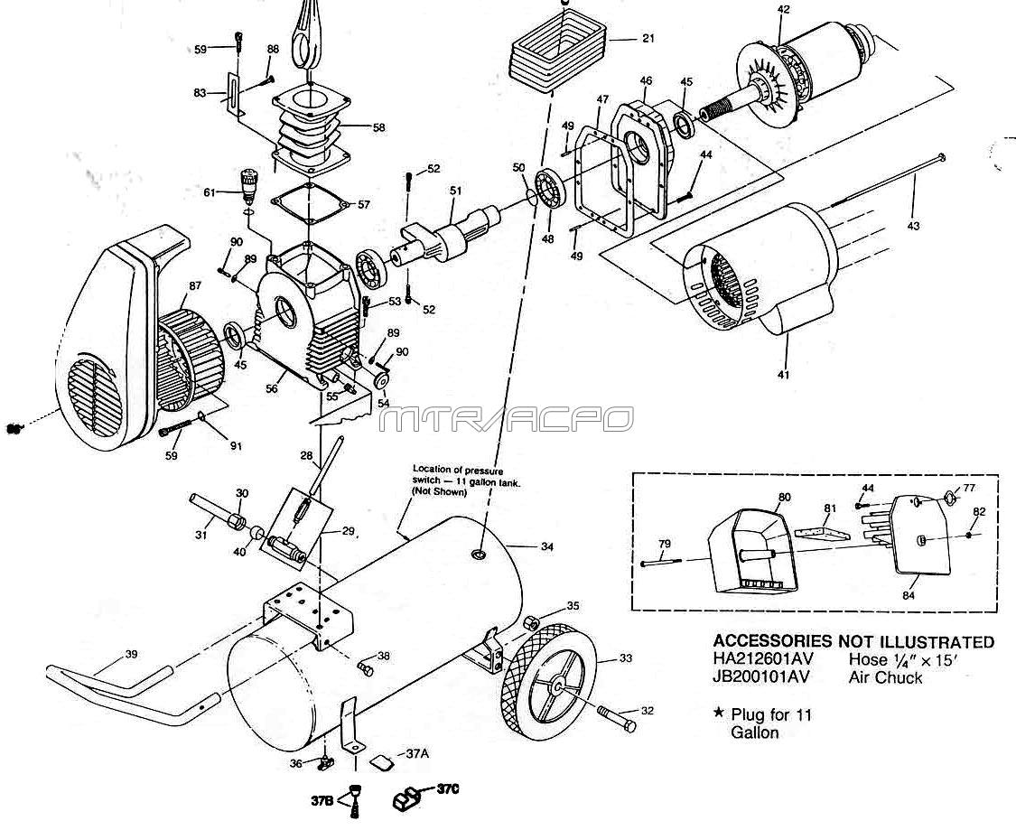 Campbell hausfeld parts hl700100 hl700200 hl700300 air for Air compressor motor troubleshooting