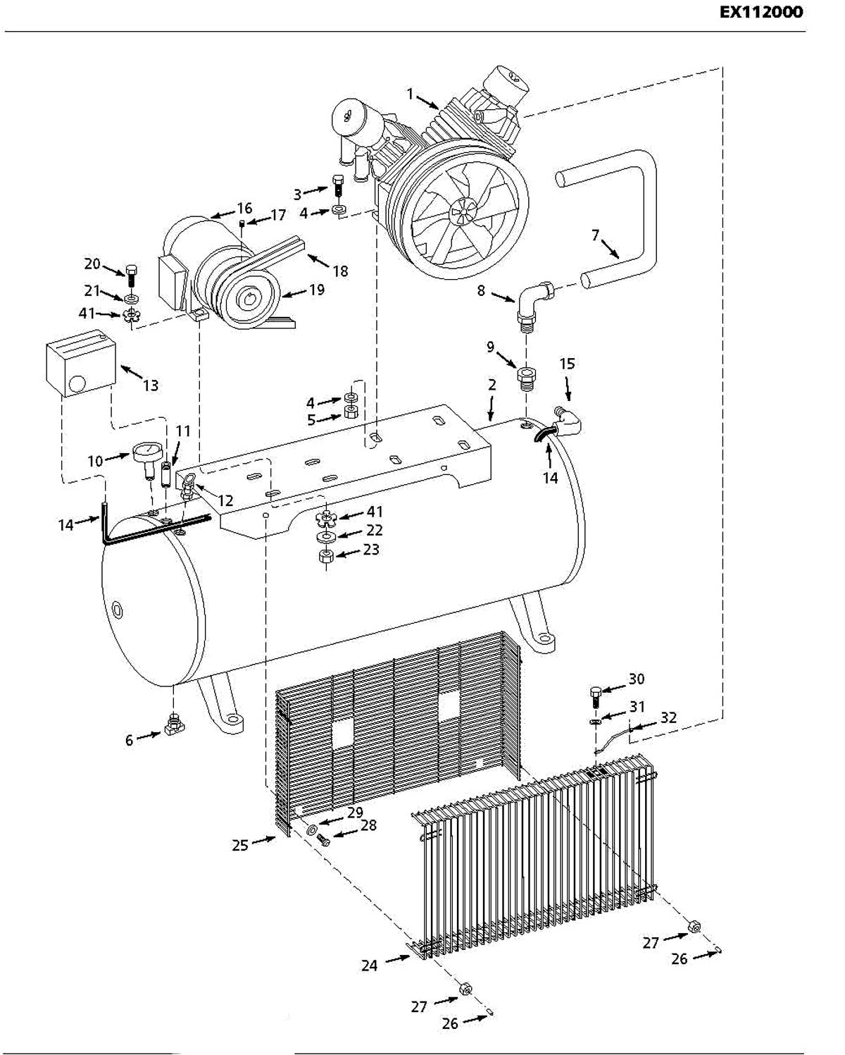 EX112000, EX1120 - Air Compressor Parts schematic