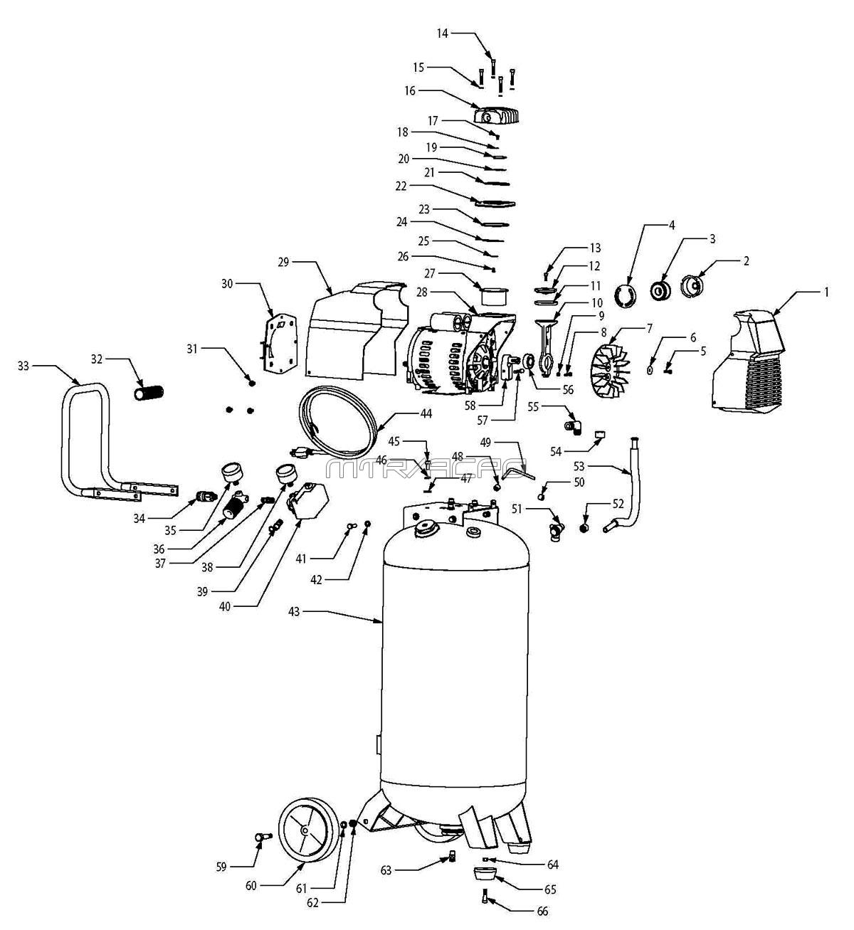 F226VWD, 585-819, 585819 - Portable Oil-Free Direct-Drive Electric Air Compressor Parts schematic