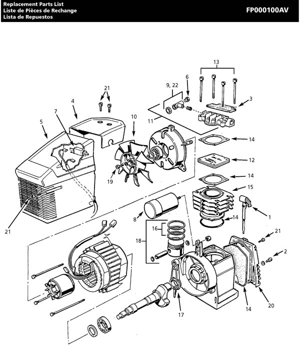 FP000100AV - Air Compressor Pump Parts schematic