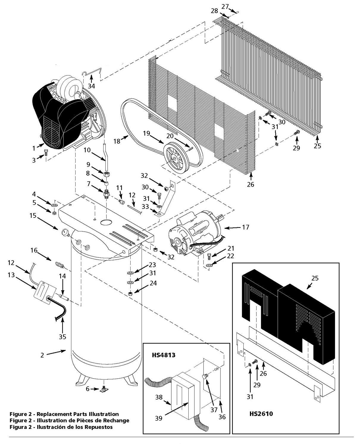 HS4810, HS4813, HS4814 - Air Compressor Parts schematic