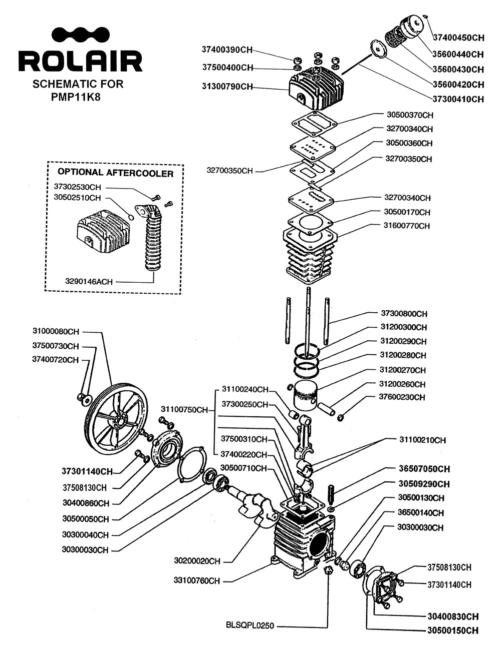 K08 - Air Compressor Pump Parts schematic