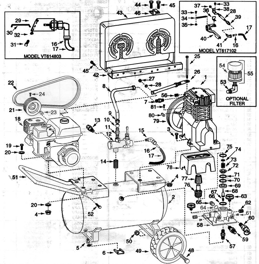 VT617102 - Oil-Bath Gas Air Compressor Repair Parts schematic