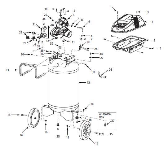 WL660501, WL660501AJ - Air Compressor Parts schematic