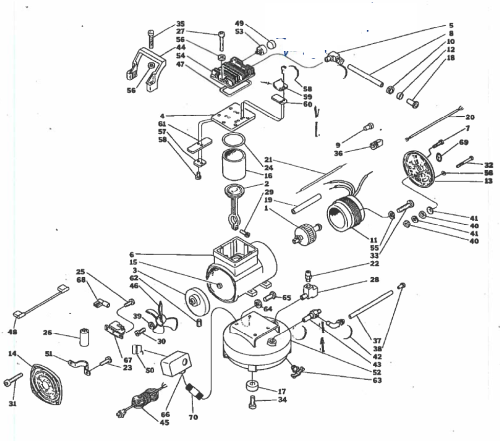 T-30 - Hand Carry Oil-Free Air Compressor Parts schematic