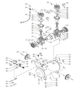 15020C - 15 Gal 2 HP Ultra Quiet, Oil-Free Air Compressor Repair Parts schematic