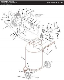 WL611101AJ, WL611002 - Air Compressor Parts schematic